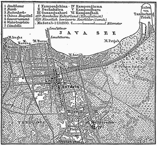Peta Batavia (sekarang Jakarta) pada tahun 1888