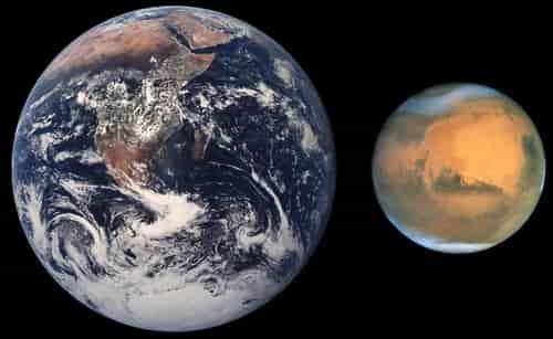 Perbandingan ukuran Bumi Mars