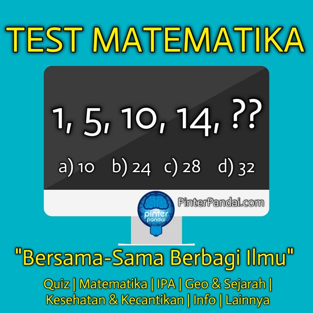 test quiz matematika 1, 5, 10, 14, ??