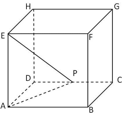 Panjang diagonal ruang kubus ABCDEFGH adalah 6√3 cm. Jika titik P adalah titik tengah CD maka panjang PE sama dengan