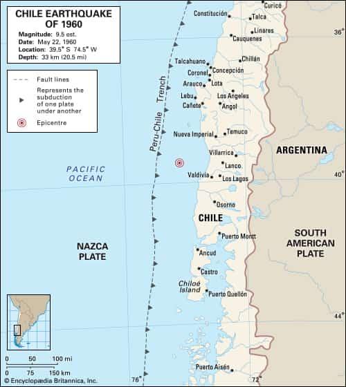 Peta yang menggambarkan episentrum di lepas pantai Cile 22 Mei 1960