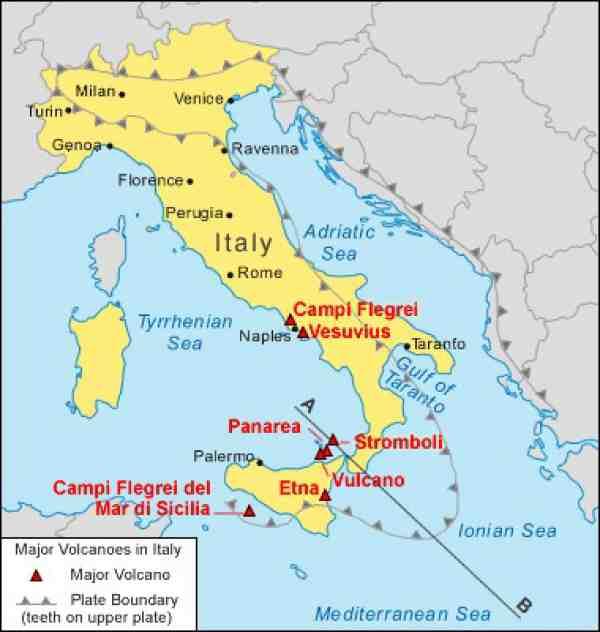Peta Lokasi Gunung Berapi Stromboli