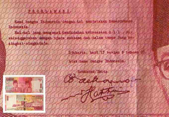 Teks Proklamasi Uang Seratus Ribu Rupiah