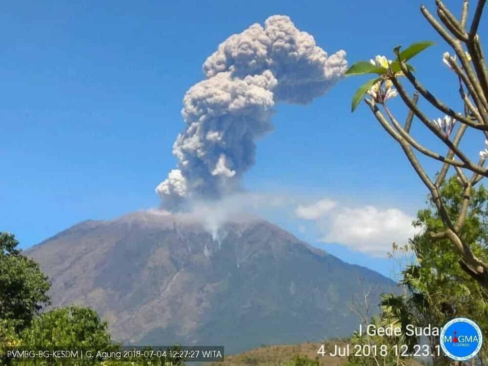 Erupsi gunung agung 4 juli 2018