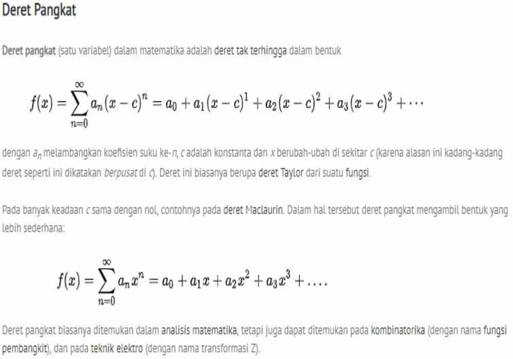 Deret Pangkat Matematika Beserta Contoh Soal Dan Jawaban