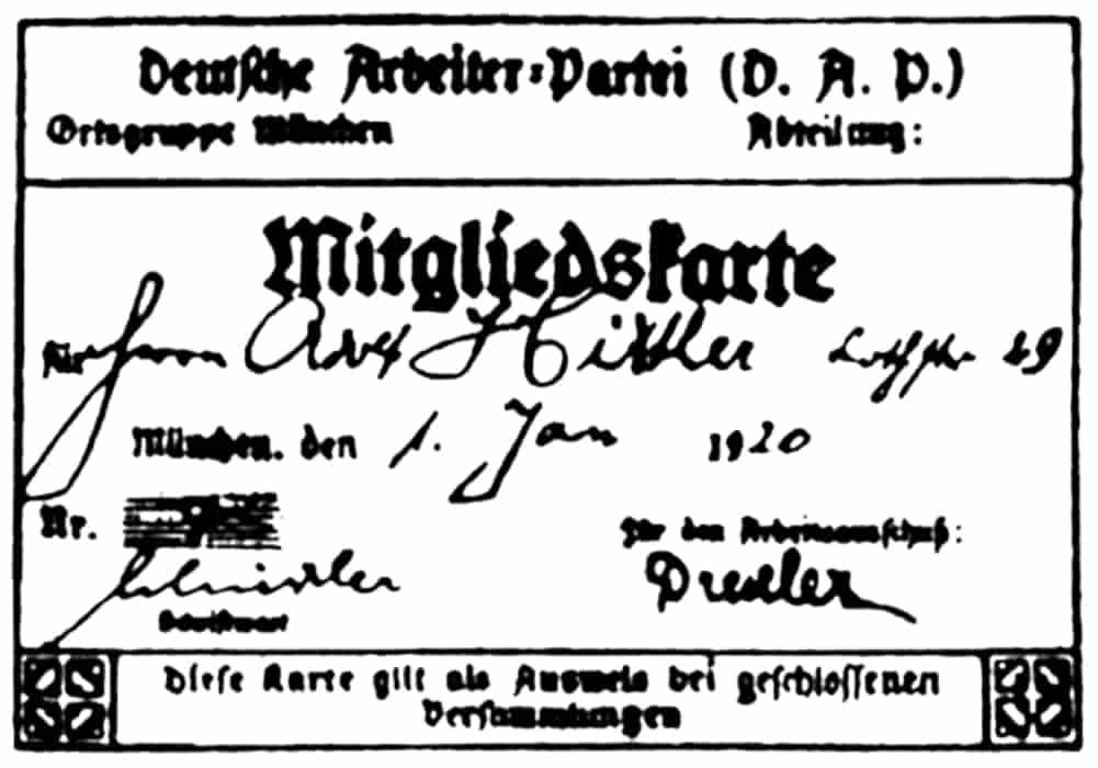 Salinan kartu keanggotaan Partai Pekerja Jerman (DAP) Adolf Hitler