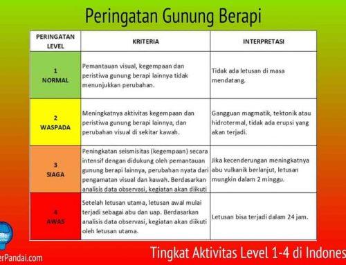 Pengertian Peringatan Gunung Berapi – Tingkat Aktivitas Level 1-4 di Indonesia
