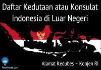 Alamat Kedubes – Konjen RI – Daftar Kedutaan atau Konsulat Indonesia di Luar Negeri