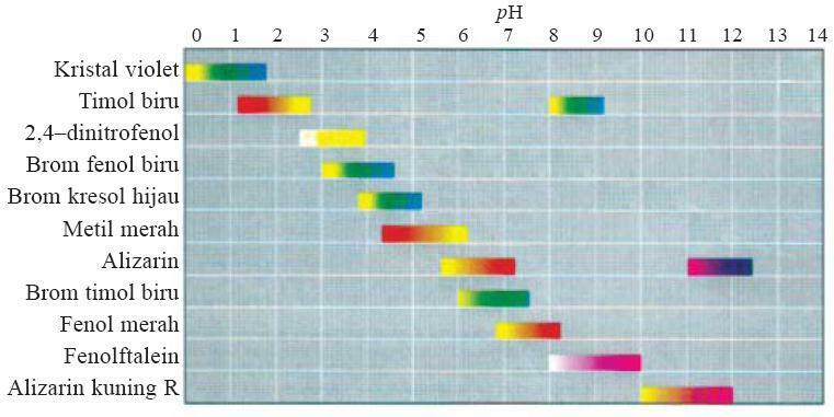 Trayek perubahan pH derajat keasaman beberapa indikator asam-basa. (Sumber: Chemistry, The Molecular Nature of Matter and Change, Martin S. Silberberg, 2000.)