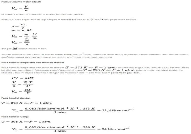 Volume Molar – Massa Molar (mol) – Rumus, Contoh Soal dan Jawaban