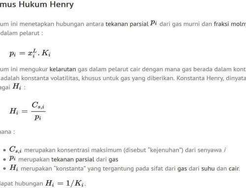 Hukum Henry – Rumus, Nilai Konstanta – Kelarutan Gas dalam Air