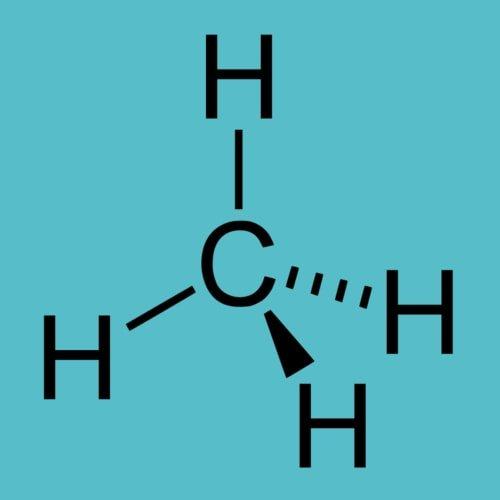 Struktur kimia dari metana, alkana yang paling sederhana