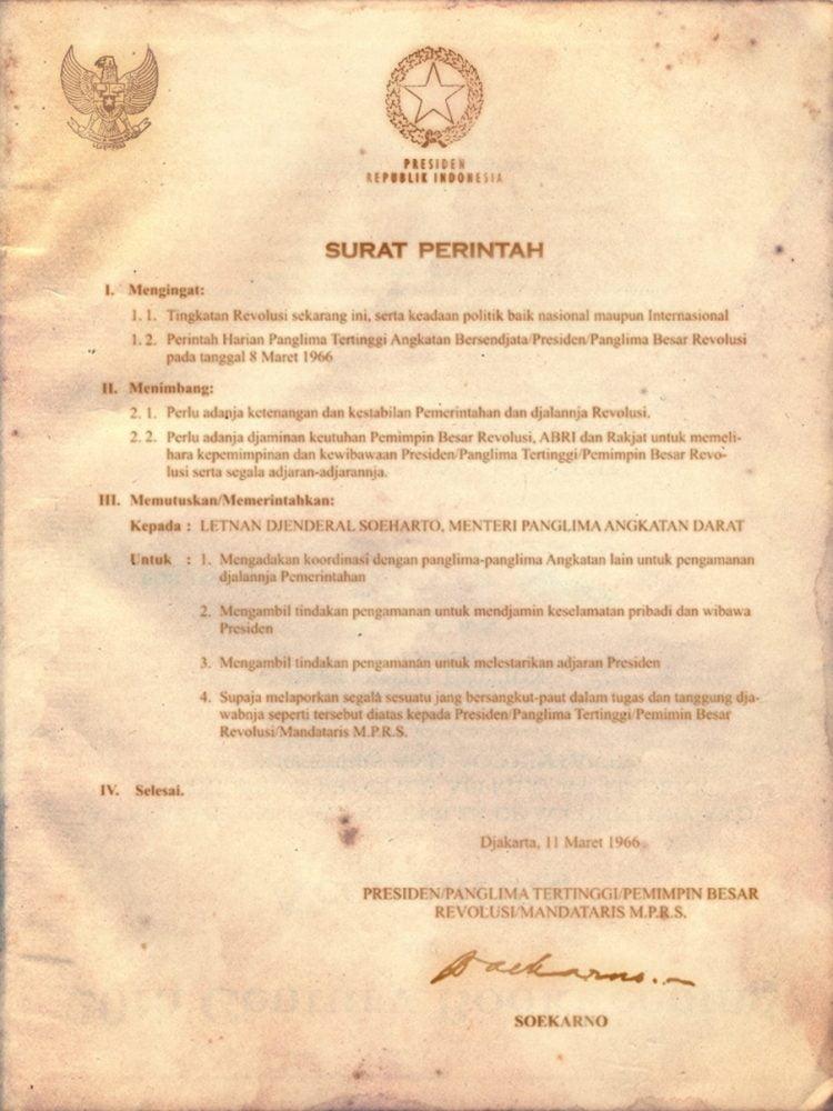 Supersemar surat perintah versi Soekarno