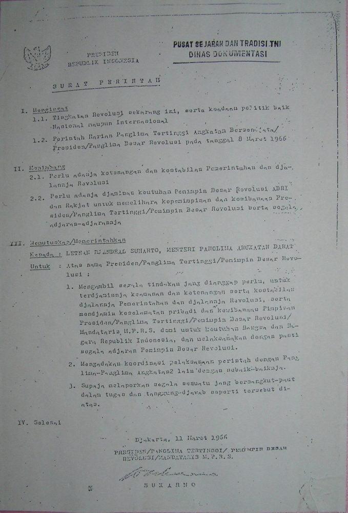 Supersemar versi lain dari arsip pusat sejarah dan tradisi TNI dinas dokumentasi