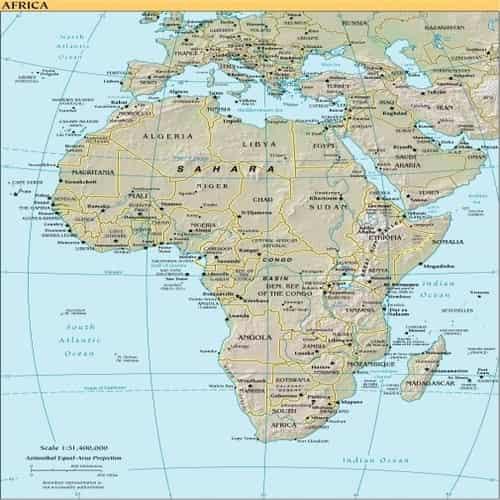 Peta negara terbesar di afrika