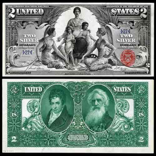 1896 versi pendidikan uang kertas 2 dolar amerika