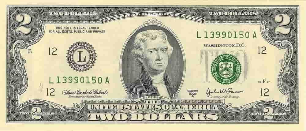 Tampak depan uang kertas 2 Dolar Amerika serikat