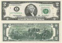 Tampak depan dan belakan uang kertas 2 Dolar Amerika Serikat