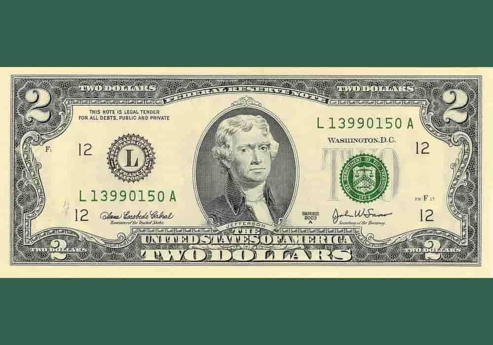 Tampak depan uang kertas 2 Dolar Amerika serikat dengan portret Thomas Jefferson