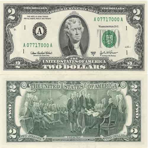Uang Kertas 2 Dolar Amerika Serikat