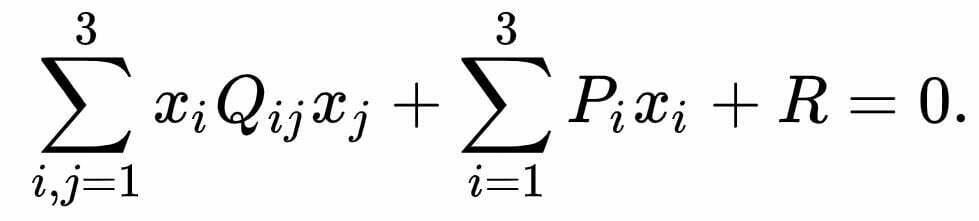 Kuadrat umum ditentukan oleh persamaan aljabar dalam geometri