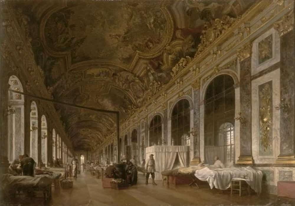 Galeri Hall of Mirrors berubah menjadi rumah sakit militer selama Perang Prancis-Prusia tahun 1870